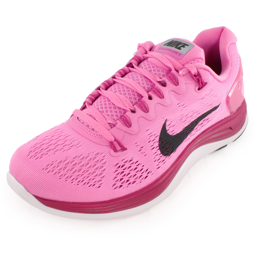 Women`s Lunarglide+ 5 Run Shoes Red Violet The Nike Womens Lunarglide 5 Running Shoes Red Violet have some of the bestfitting uppers in the industry These lightweight shoes offer great support and are perfect for moderate pronators