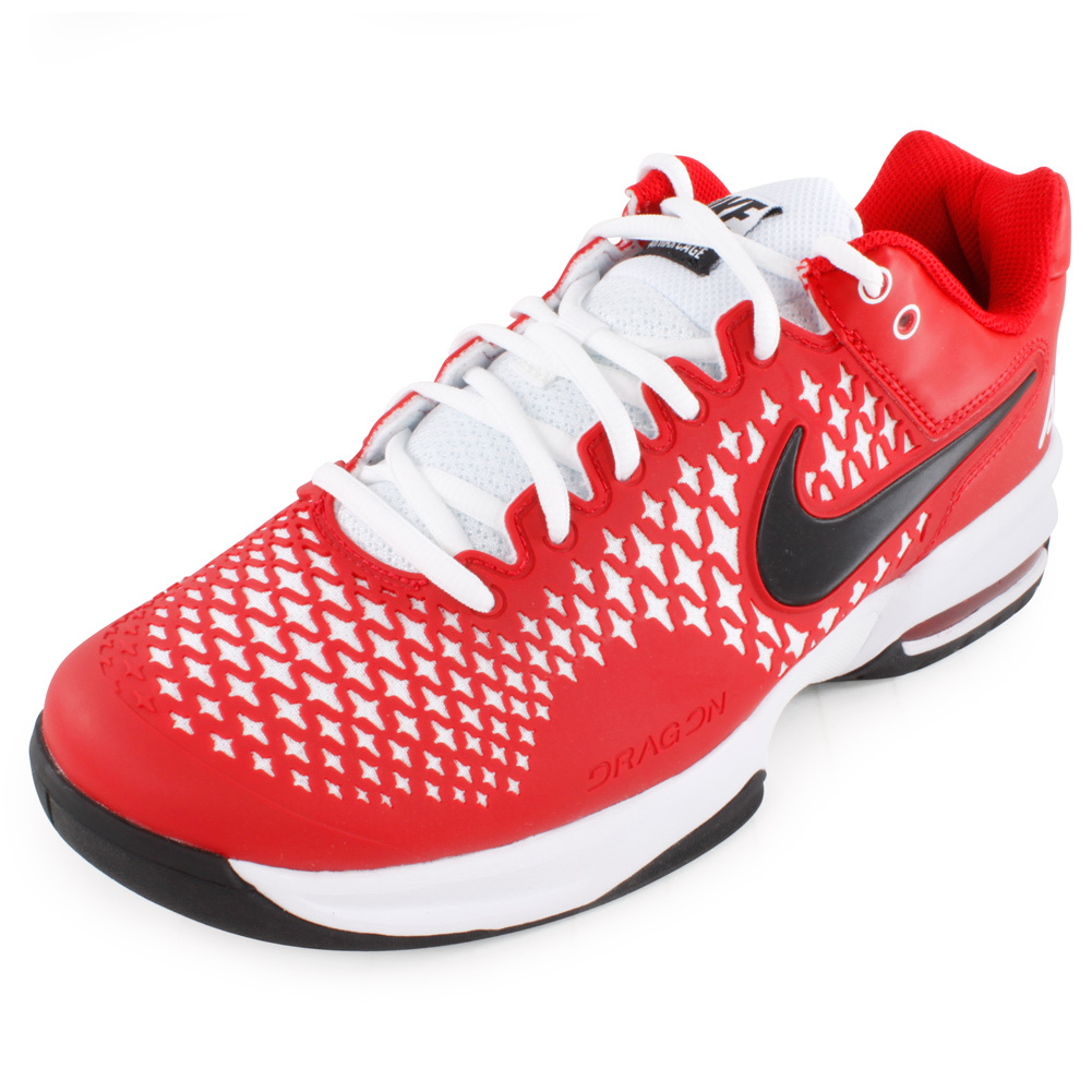 NIKE Women`s Air Max Cage Tennis Shoes Red Violet and White