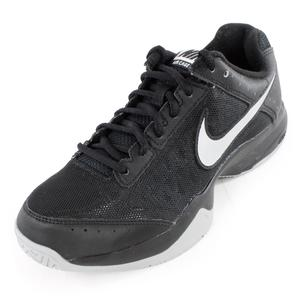 Men`s Air Cage Court Tennis Shoes Black and Metallic Silver