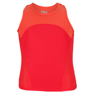 WILSON GIRLS SOLANA TENNIS TANK CORAL/CHERRY
