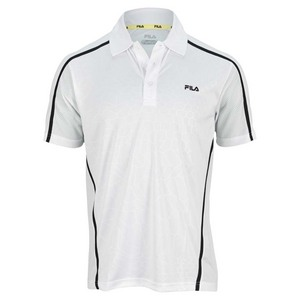 FILA MENS CENTER COURT EMBOSSED TENNS POLO WH
