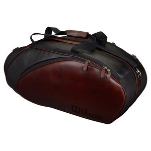 Premium Leather 6 Pack Tennis Bag Black