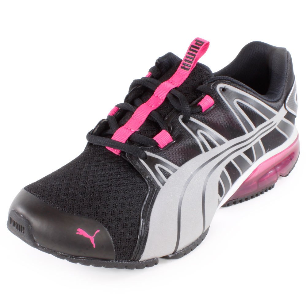 PUMA PUMA Women s Powertech Voltaic Running Shoe Black And Beetroot Purple 40b17fef19dc