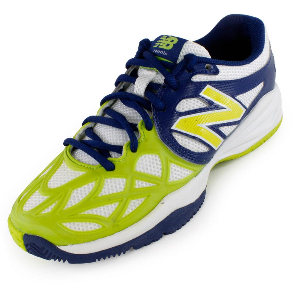 Juniors` 996 Tennis Shoes Blue and Green An update to the 851 the New Balance Juniors 996 Tennis Shoes Blue and Green  is constructed with ProBank stability technology plus REVlite foam for a lightweight shoe with superior cushioning Backed by a oneyear NDurance durability guarantee