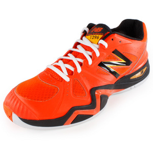 Men`s 1296 D Width Tennis Shoes Orange and Black
