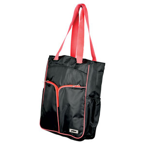PRINCE WOMENS COURTSIDE TENNIS TOTE BLACK/CORAL