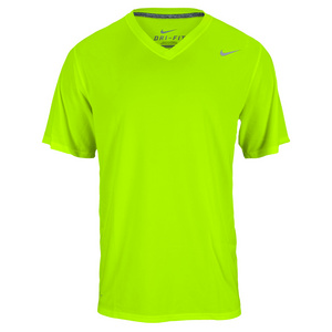 NIKE MENS LEGEND V NECK SS TRAIN TEE VOLT