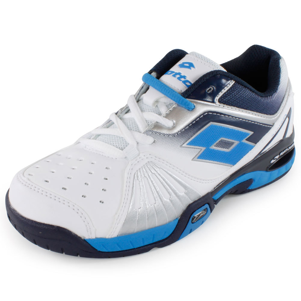 Juniors` Raptor Ultra IV Tennis Shoes White and Aviator For unbeatable comfort and support try the Lotto Juniors Raptor Ultra IV Tennis Shoe White and Aviator With hightech support and a lightweight nylon mesh upper this shoe will have young athletes flying around the court in style and comfort