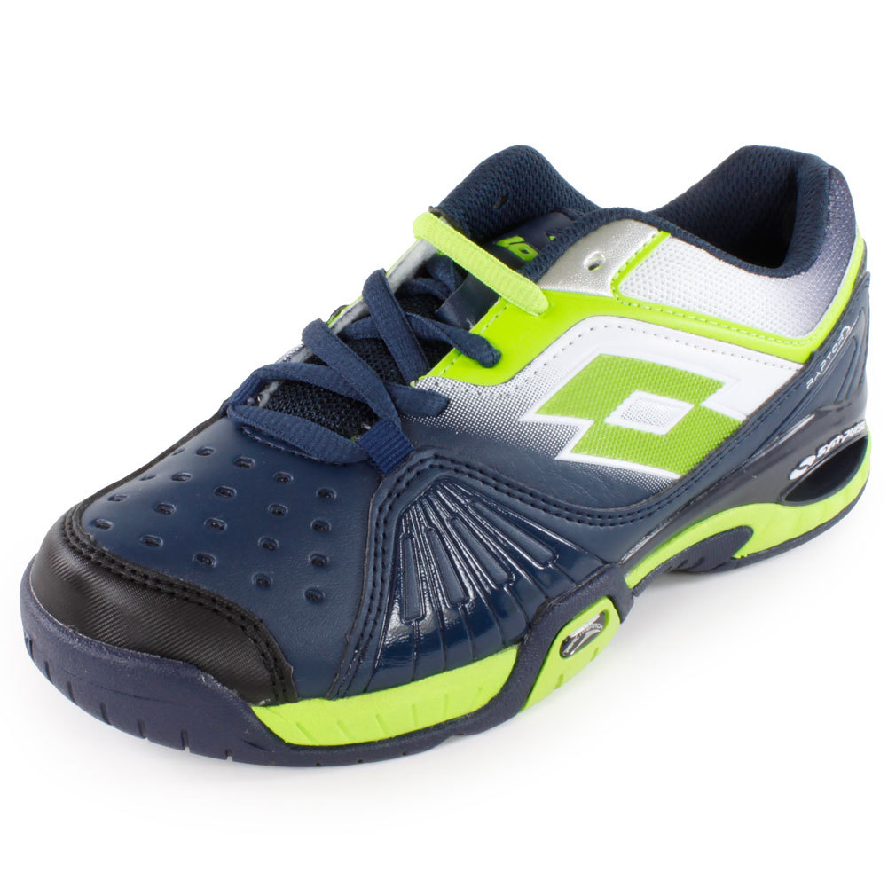Juniors` Raptor Ultra IV Tennis Shoes Aviator and Fluo Clover For unbeatable comfort and support try the Lotto Juniors Raptor Ultra IV Tennis Shoe Aviator and Fluo Clover With hightech support and a lightweight nylon mesh upper this shoe will have young athletes flying around the court in style and comfort