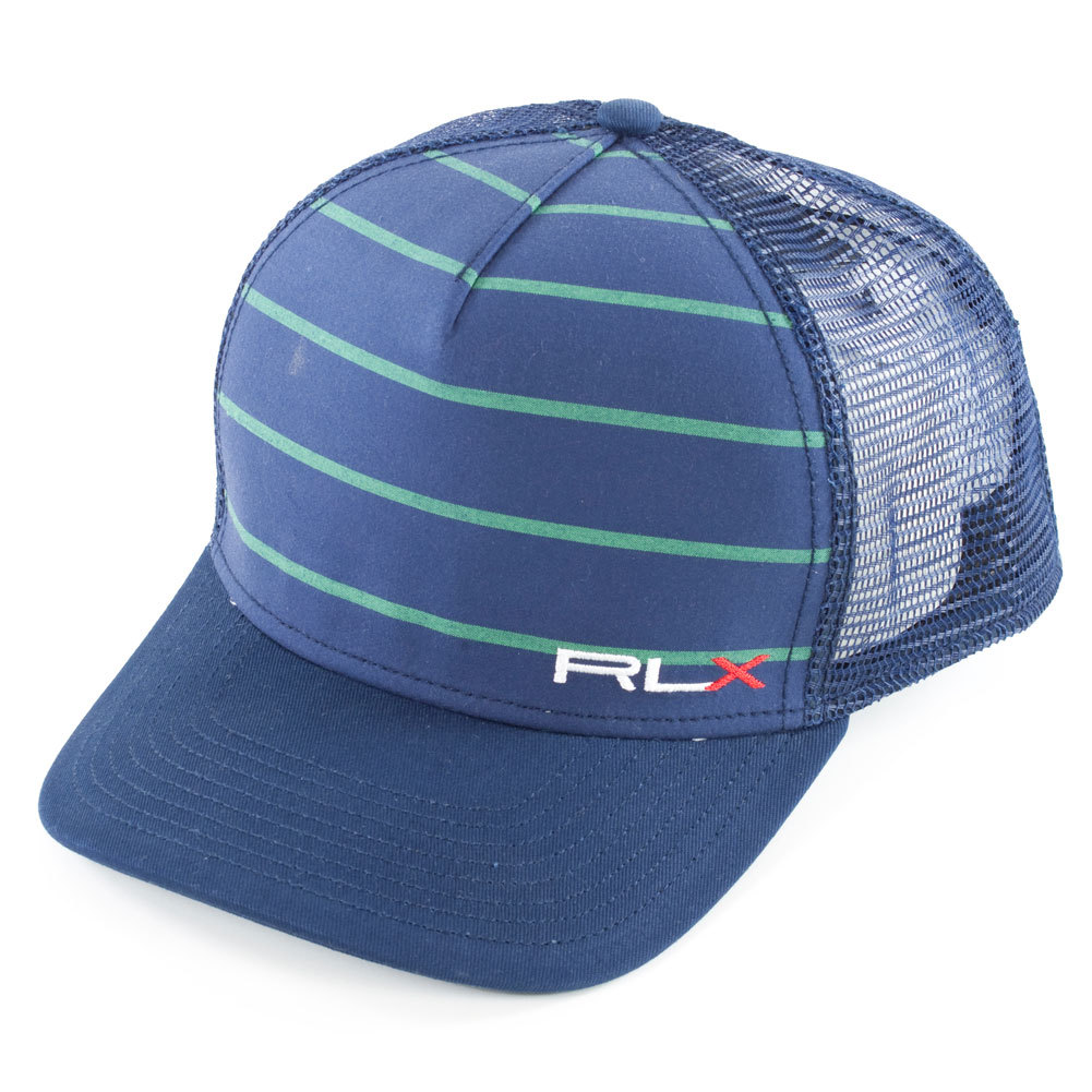Men's Mesh Back Sports Cap Navy And Green