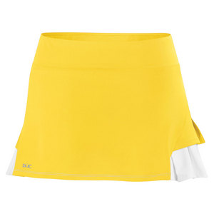Women`s Flirt Double Pleated Power Skirt Gold and White