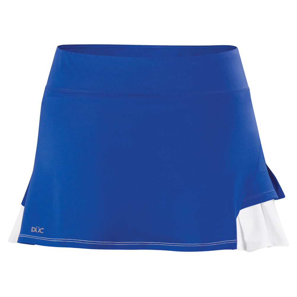 Women's Flirt Double Pleated Power Skirt Royal And White