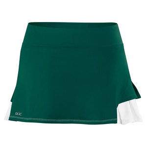 Women`s Flirt Double Pleated Power Skirt Pine and White