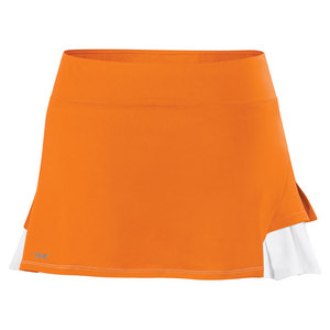 Women`s Flirt Double Pleated Power Skirt Orange and White