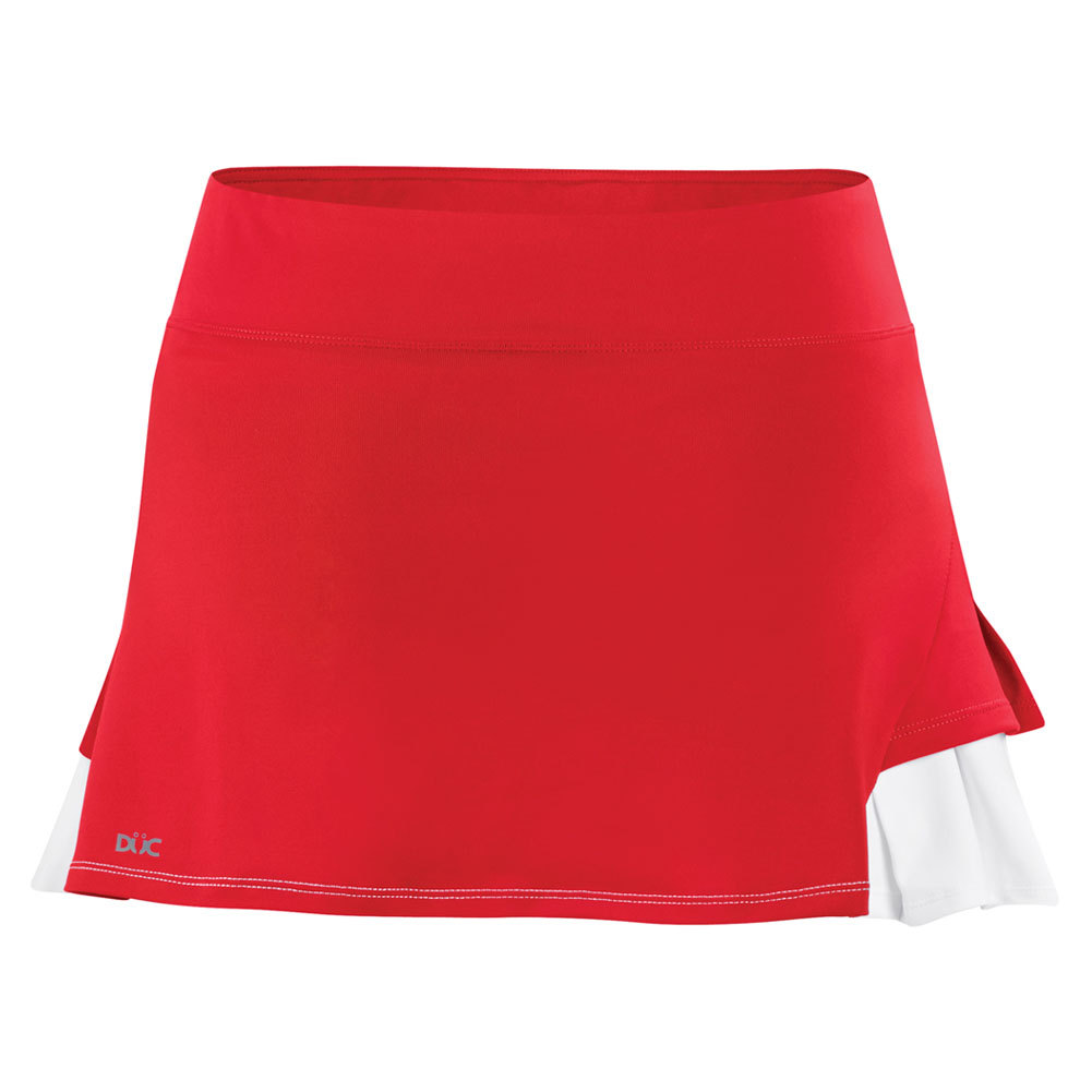 Women's Flirt Double Pleated Power Skirt Red And White