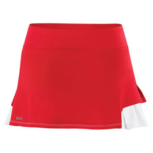 Women`s Flirt Double Pleated Power Skirt Red and White