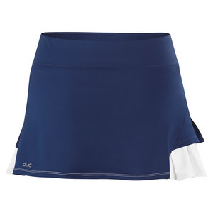 Women`s Flirt Double Pleated Power Skirt Navy and White