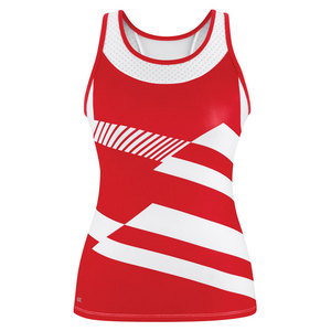 Women`s Sonar Printed Racer Tennis Tank Red and White