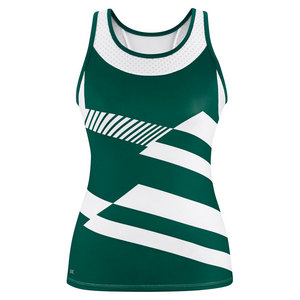 Women`s Sonar Printed Racer Tennis Tank Pine and White