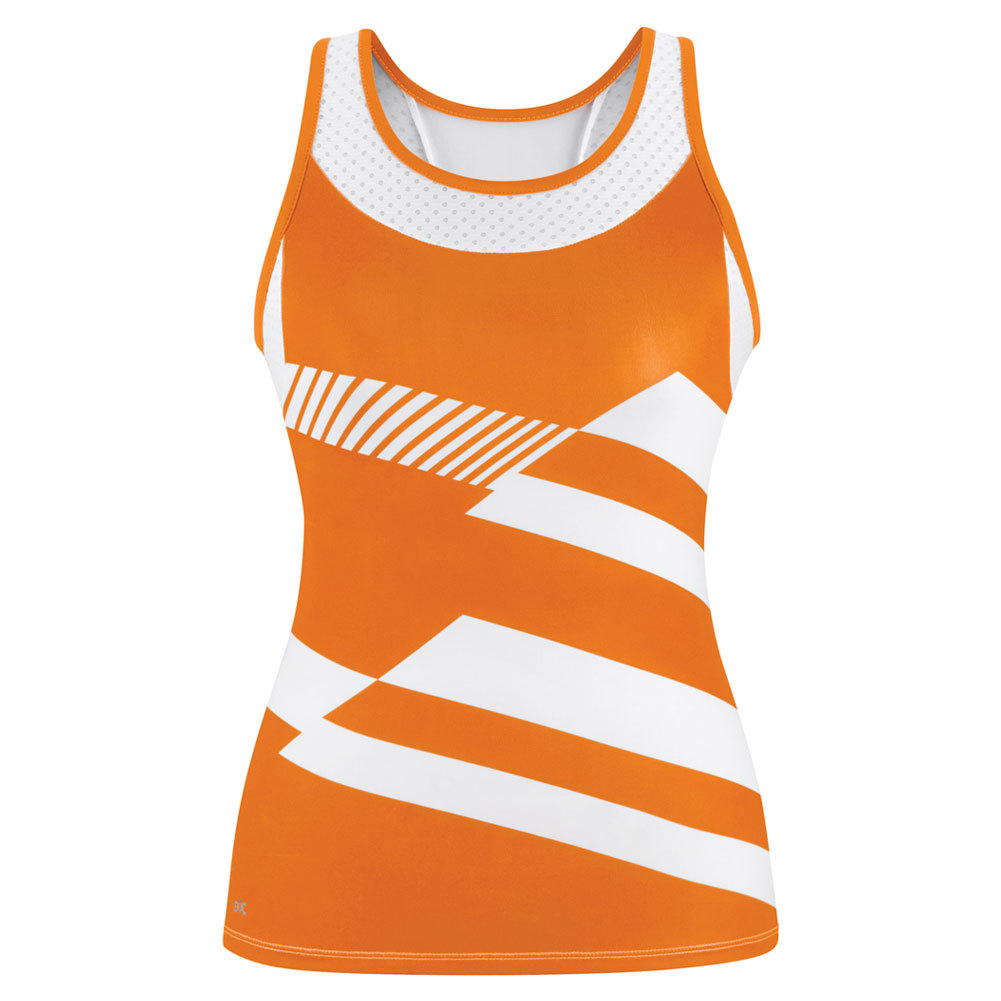 Women's Sonar Printed Racer Tennis Tank Orange And White