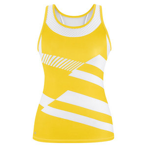 Women`s Sonar Printed Racer Tennis Tank Gold and White