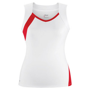 Women`s Wink Fashion Tennis Tank White and Red