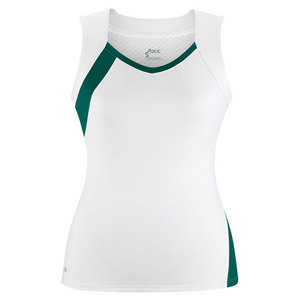 Women`s Wink Fashion Tennis Tank White and Pine