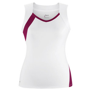 Women`s Wink Fashion Tennis Tank White and Maroon