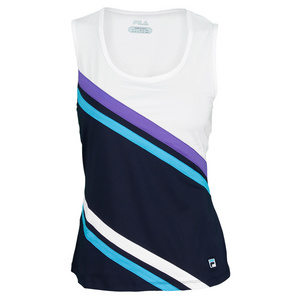FILA WOMENS CENTER CRT FULL COV TANK PCOAT/WH