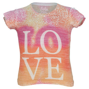 LUCKY IN LOVE GIRLS LOVE BURNOUT PRACTICE TEE PINK