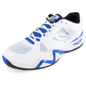 Men`s 1296 D Width Tennis Shoes White and Blue
