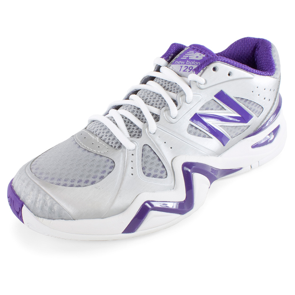 Women's 1296 B Width Tennis Shoes Silver And Purple