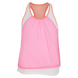 LUCKY IN LOVE GIRLS CROP MESH TENNIS TANK PINK