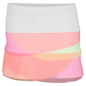 LUCKY IN LOVE GIRLS MESH SCALLOP TENNIS SKIRT PINK/WHT