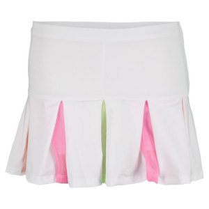 LUCKY IN LOVE GIRLS PLEAT-O-RAMA TENNIS SKIRT WHITE