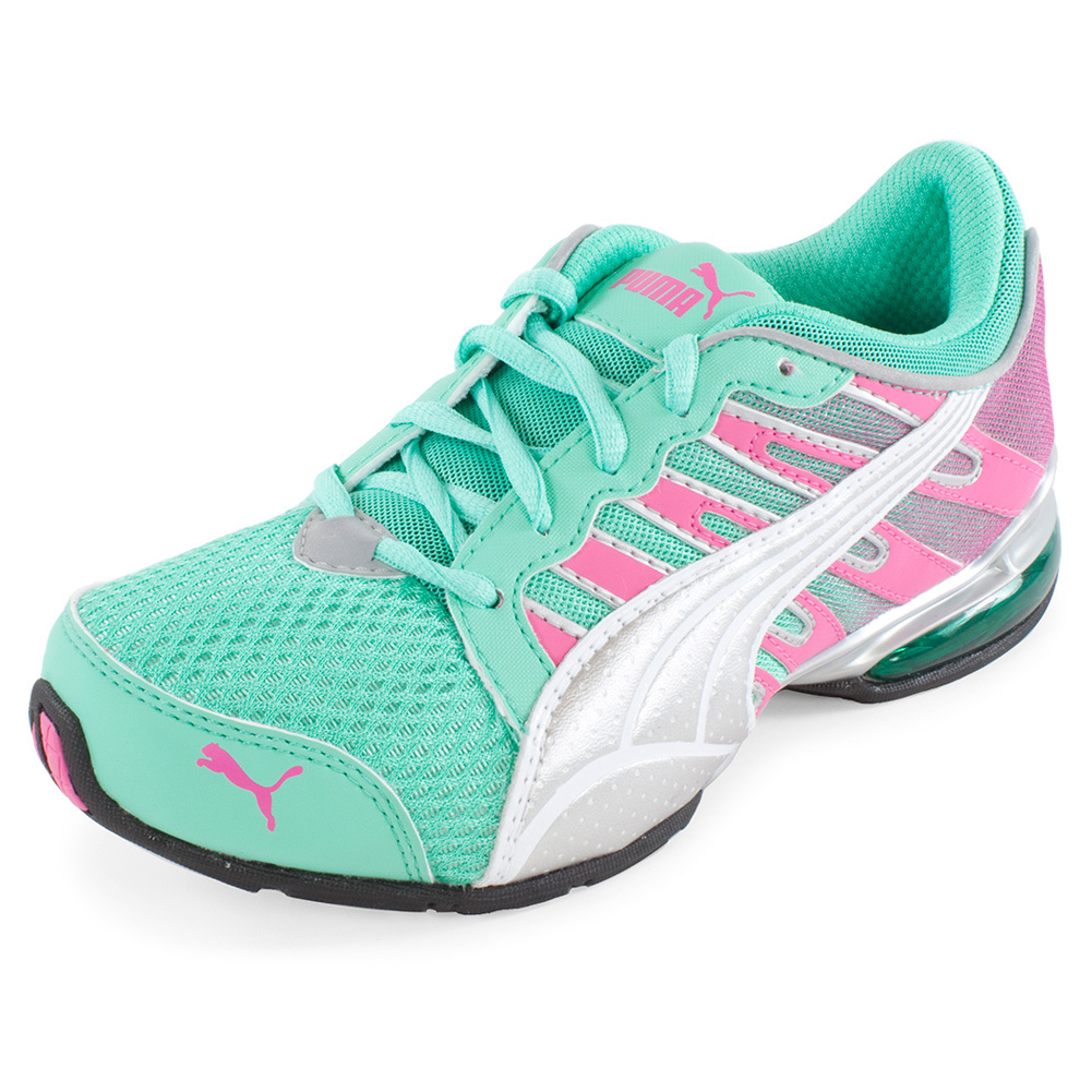 Junior's Voltaic 3 Fade Running Shoe Electric Green And Fluro Pink