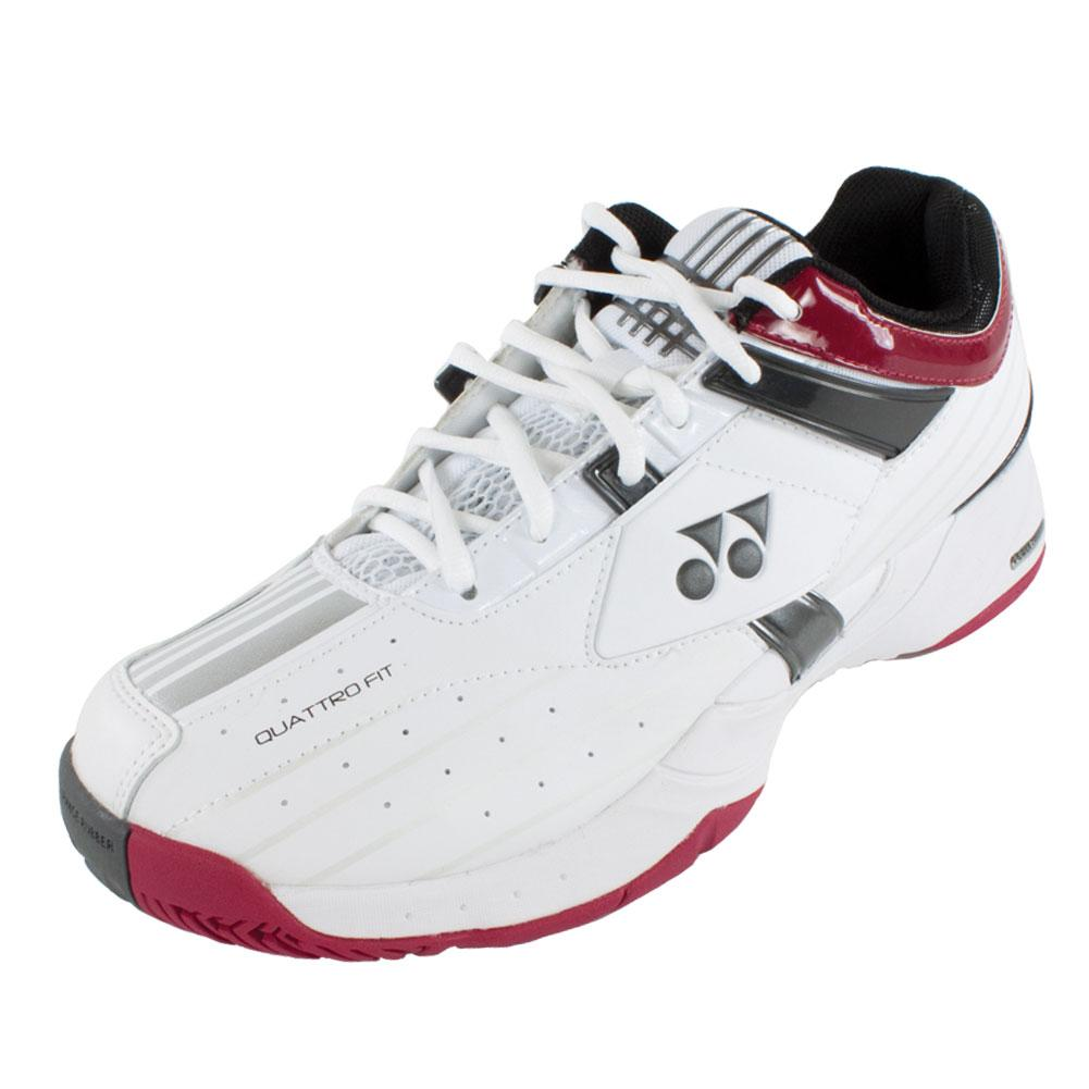 Unisex Power Cushion Light Tennis Shoes White And Wine Red