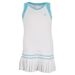 LITTLE MISS TENNIS GIRLS PLEATED TENNIS DRESS WHITE/AQ TRIM