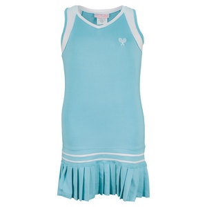 LITTLE MISS TENNIS GIRLS PLEATED TENNIS DRESS AQUA/WH TRIM