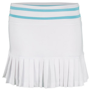 LITTLE MISS TENNIS GIRLS PLEATED TENNIS SKORT WHITE/AQUA