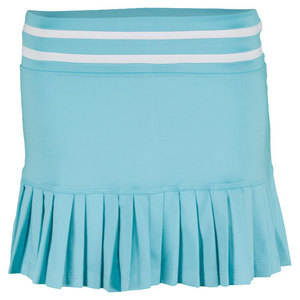 LITTLE MISS TENNIS GIRLS PLEATED TENNIS SKORT AQUA/WHITE