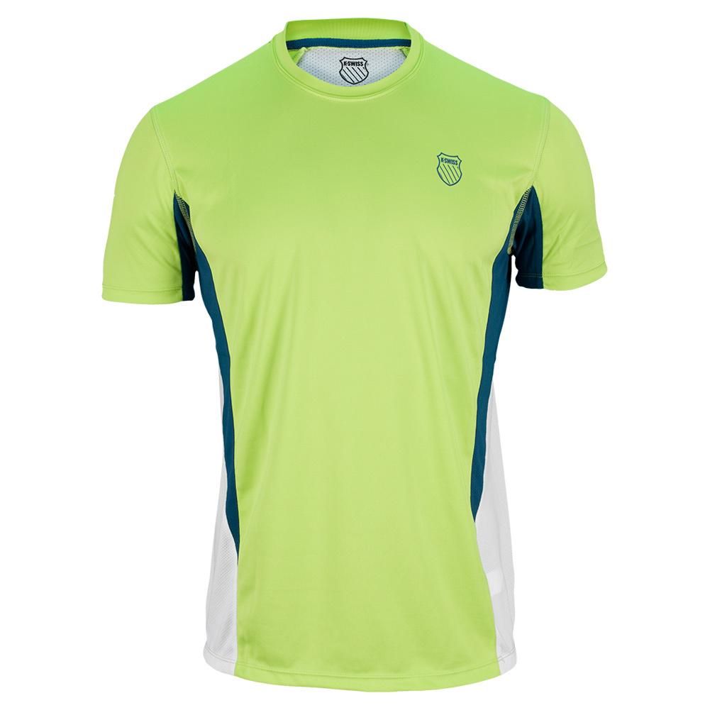 Men's Spliced Tennis Crew Neon Citron And White