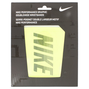 NIKE PERFORM GRAPHIC DBL WD WRISTBAND VOLT/BK