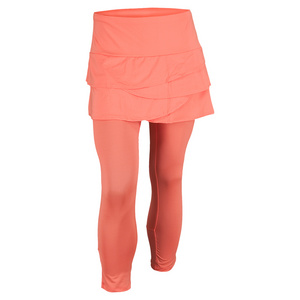 LUCKY IN LOVE WOMENS SCALLOP TENNIS CAPRI ORANGE