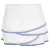 LUCKY IN LOVE Women`s Scallop Mesh Border Tennis Skirt White and Ice Blue