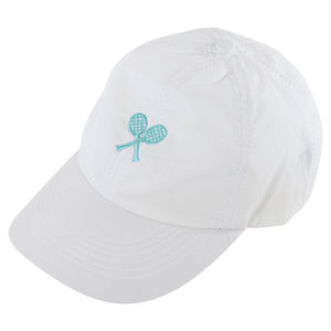 LITTLE MISS TENNIS GIRLS WHITE CAP W/AQUA CROSS RACQUETS
