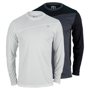 WILSON MENS RUSH COLORBLCK LONG SLV TENNIS CREW