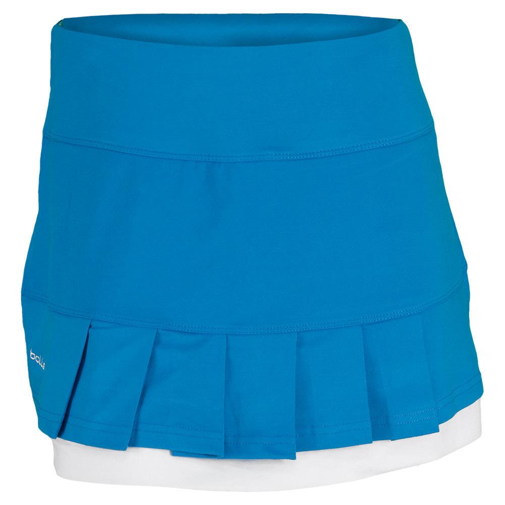 Women's Curacao Pleated 14 Inch Tennis Skort Curacao Blue