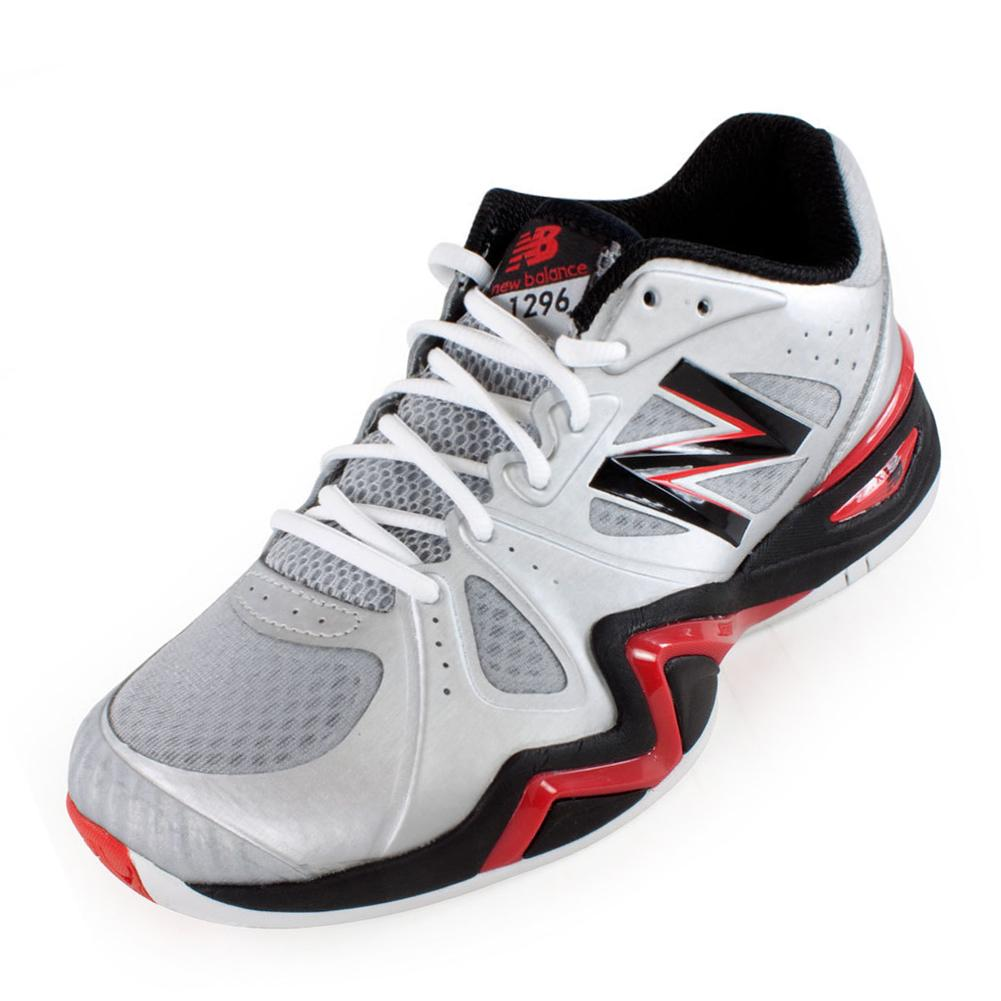 Men's 1296 D Width Tennis Shoes Silver And Red