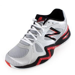 Men`s 1296 D Width Tennis Shoes Silver and Red